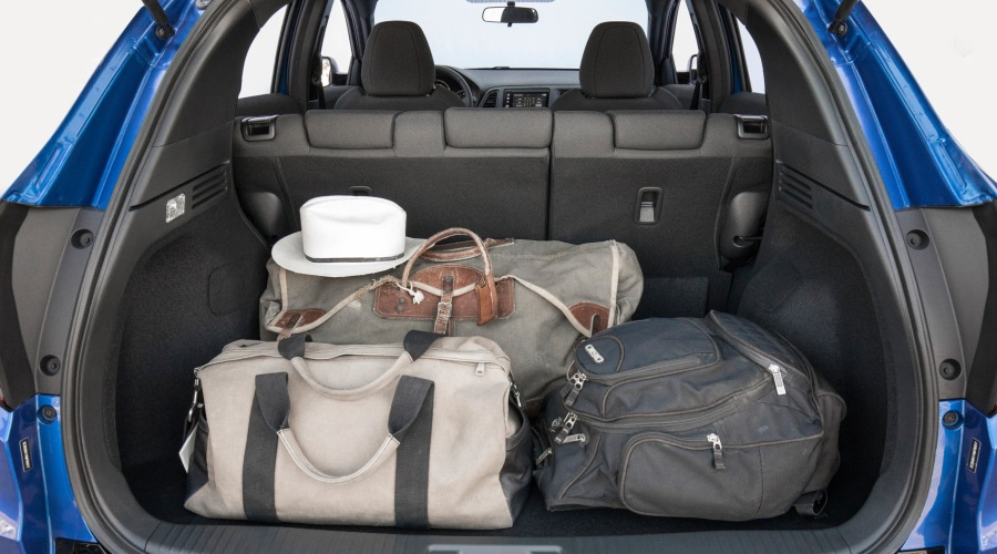 Luggage in the back of a 2019 Honda HR-V