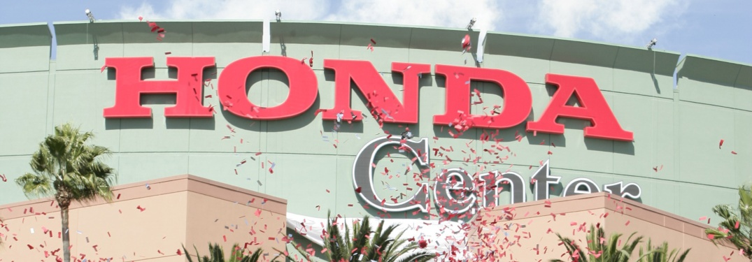 Honda Center with confetti in the air