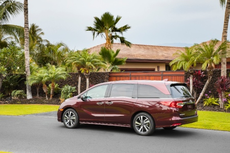 Red 2019 Honda Odyssey parked outside of tropical home