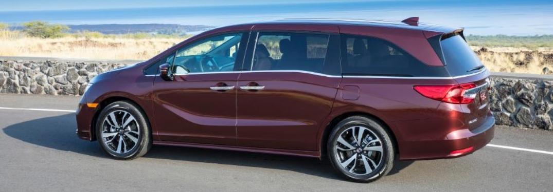 Side view of a maroon 2020 Honda Odyssey