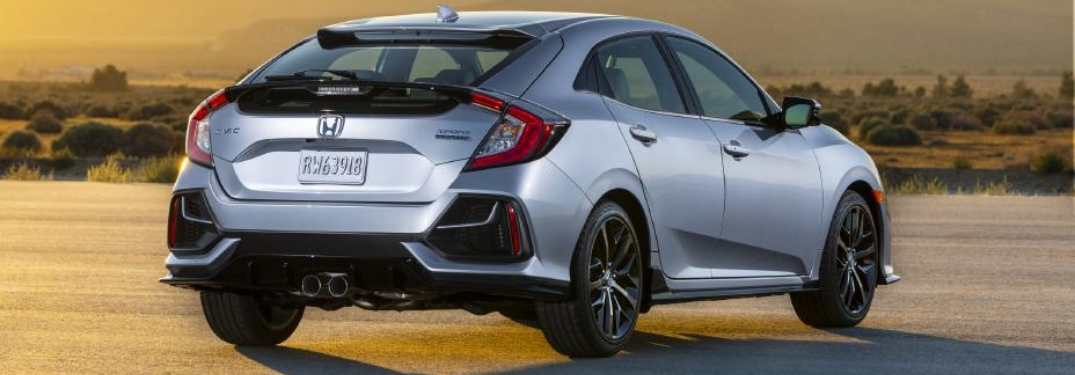 Rear side view of a silver 2020 Honda Civic Hatchback