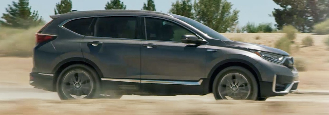 2020 Honda CR-V Hybrid going down sandy road