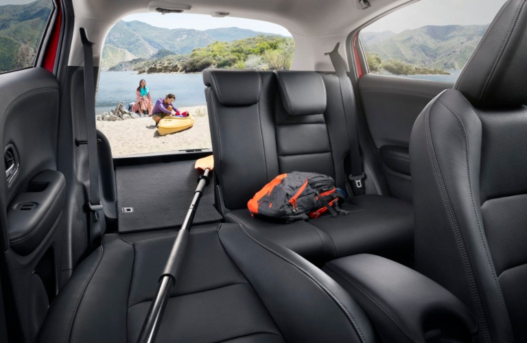 2020 Honda HR-V interior with one seat folded down