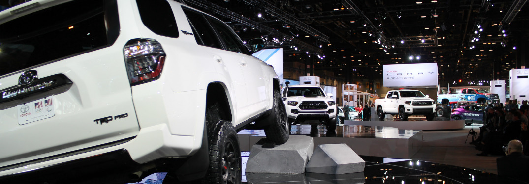 White Toyota TRD Series vehicles on display at Chicago Auto Show
