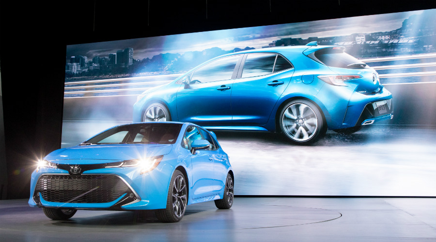 Blue 2018 Toyota Corolla Hatchback on display at NYIAS 2018
