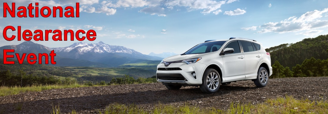 National Clearance Event text on image of 2018 Toyota RAV4