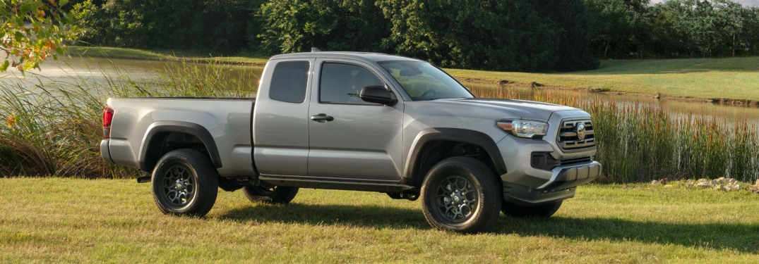 Side view of a gray 2019 Toyota Tacoma