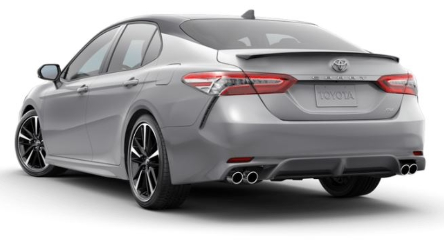 2019 Toyota Camry in Celestial Silver Metallic/Midnight Black Metallic Roof and Rear Spoiler
