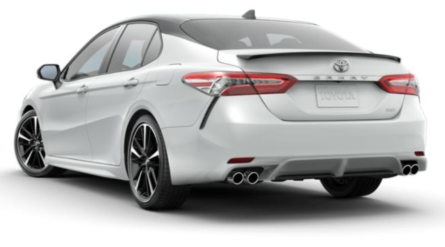 2019 Toyota Camry in Wind Chill Pearl/Midnight Black Metallic Roof and Rear Spoiler
