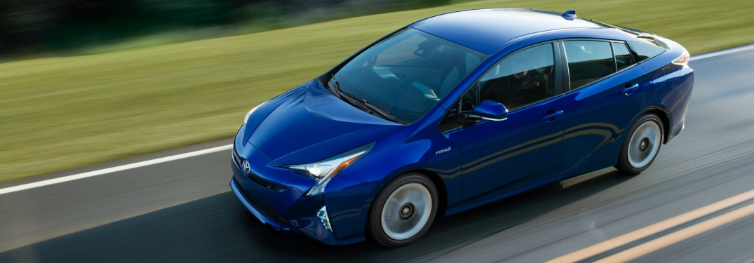 Overhead view of a blue 2018 Toyota Prius