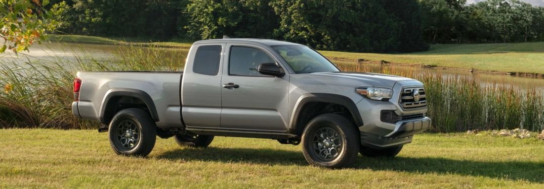 Grey 2019 Toyota Tacoma parked in a field