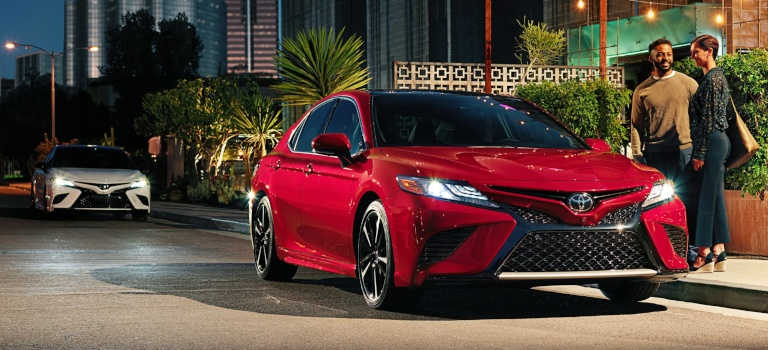 2019 Toyota Camry red front view at night