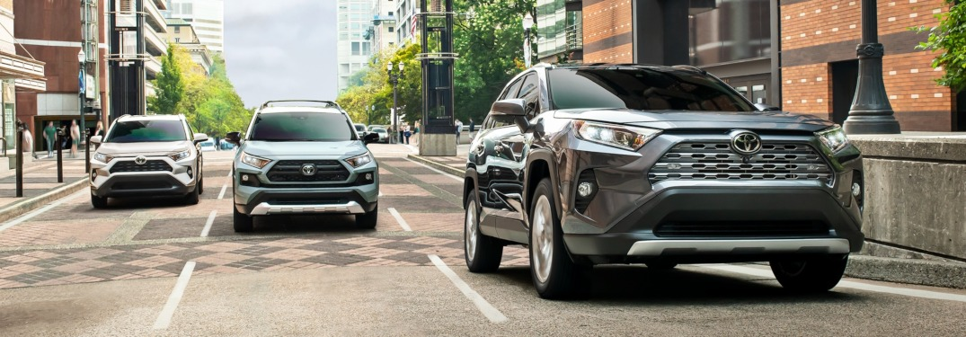 2019 Toyota RAV4 models lined up on a road front view