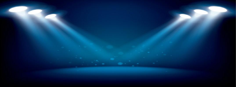 Spotlights focused on center stage
