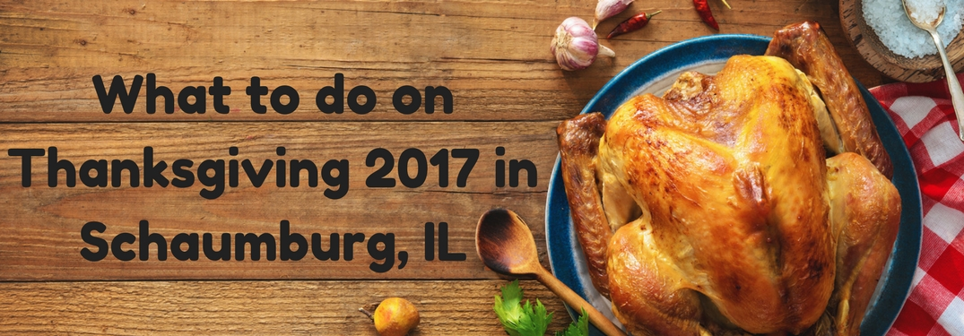 Cooked turkey and spices on a wooden table next to text reading What to do on Thanksgiving 2017 in Schaumburg, IL