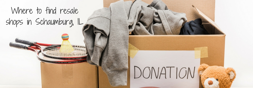 Where to find resale shops in Schaumburg, IL text over a box full of clothing and other items labeled donations