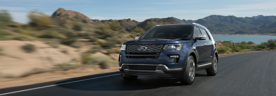 2018 Ford Explorer Driving Past Mountain Lake