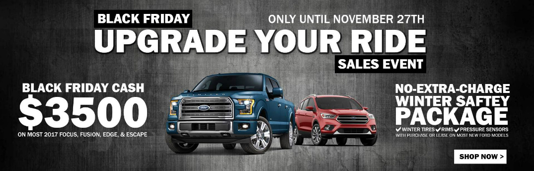 Black Friday Upgrade Your Ride Sales Event Title, Blue Ford F-150 and Red Ford Edge