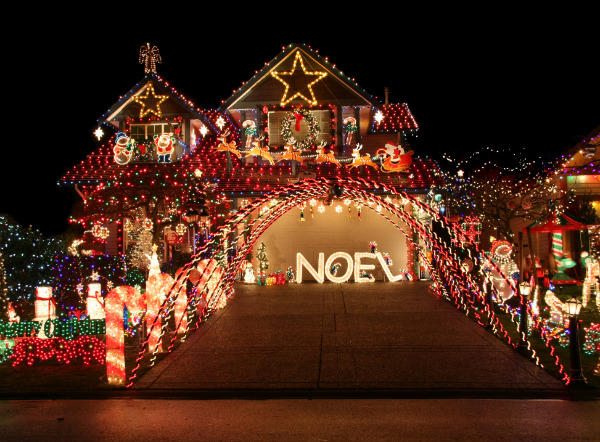 Large House Decorated with Colorful Christmas Lights