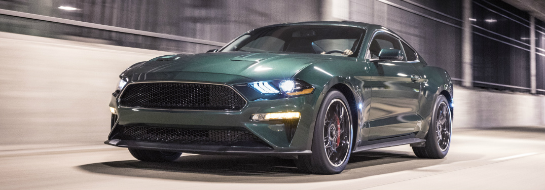 Front View of Dark Green 2019 Ford Mustang Bullit