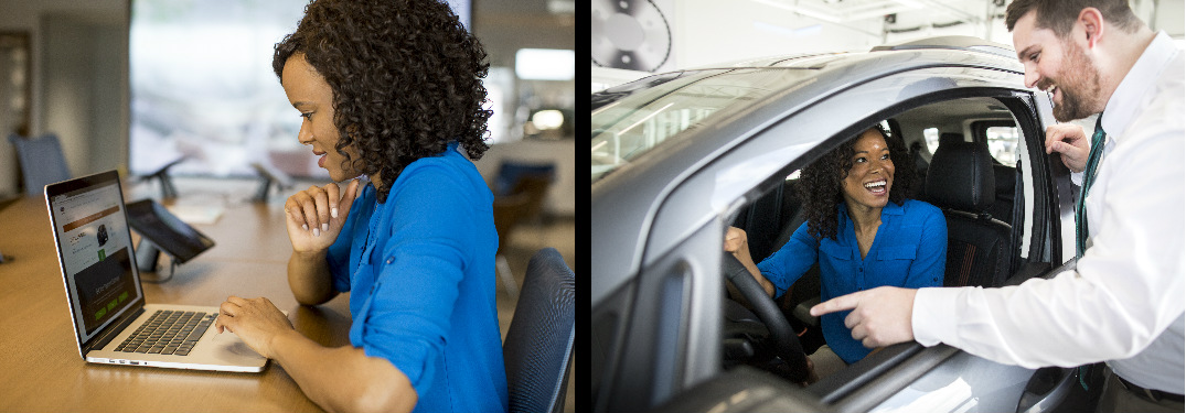 Left Photo of a Women Purchasing a Car Online and Right Photo of the Woman Driving the Car