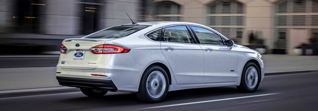Rear View of White 2019 Ford Fusion