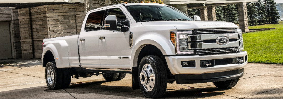White 2018 Ford Super Duty Parked in a Driveway