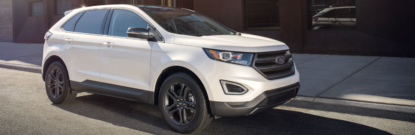 Side View of White 2018 Ford Edge
