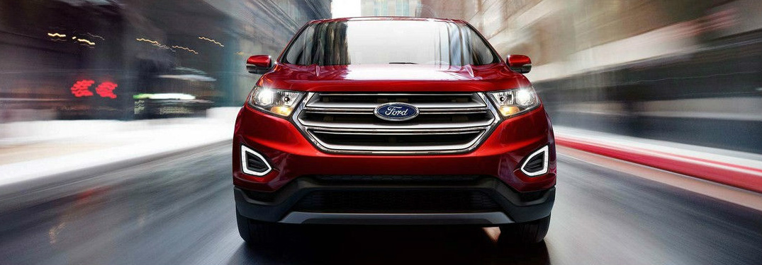 Front View of Red 2018 Ford Edge