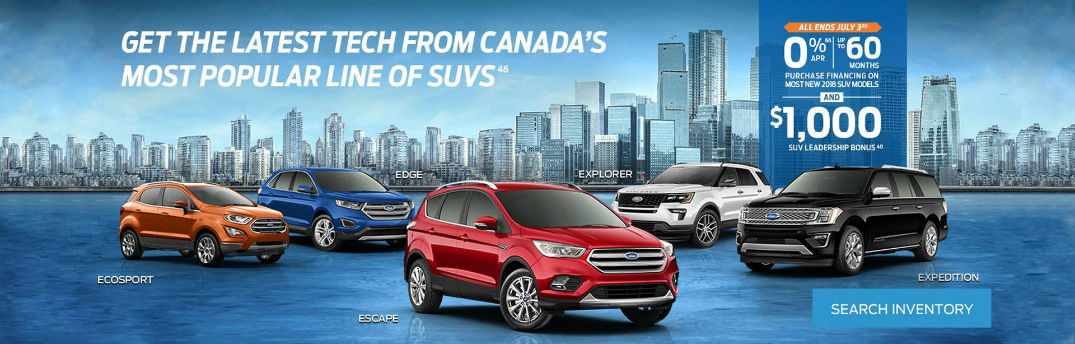 Details of 2018 Ford SUV Leadership Bonus Special, Five Ford SUVs, and a City Skyline