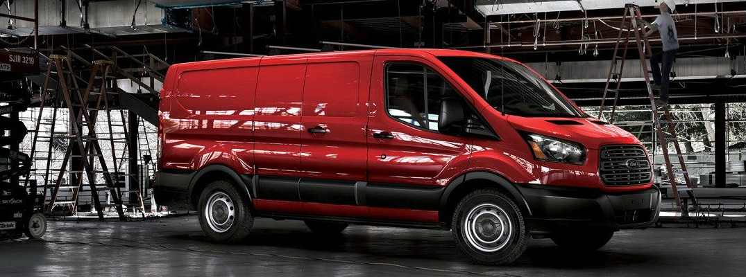 Side View of Red 2018 Ford Transit