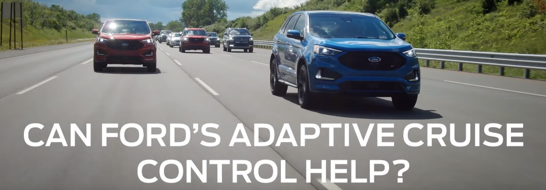 """Can Ford's Adaptive Cruise Control Help?"" Title and Vehicles Driving on a Highway"