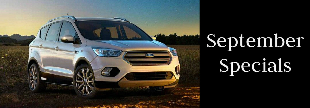 September Specials Title and a White 2018 Ford Escape