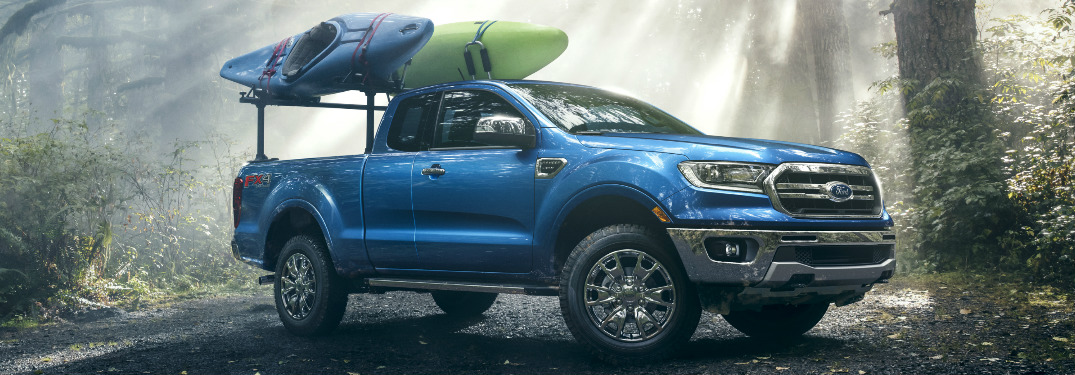 Blue 2019 Ford Ranger Parked in a Forest