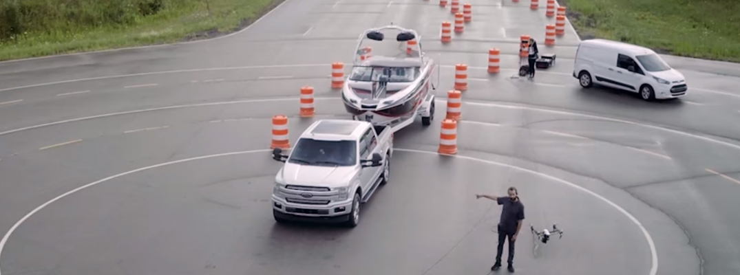 Watch a Drone Demo of the Ford F-150 Pro Trailer Backup Assist