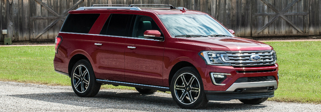 Side View of Red 2019 Ford Expedition Texas Edition