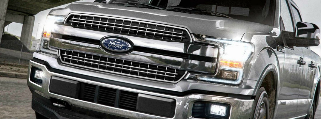 Grille and headlights on grey 2019 Ford F-150