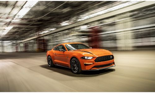 2020 Ford Mustang driving on a road
