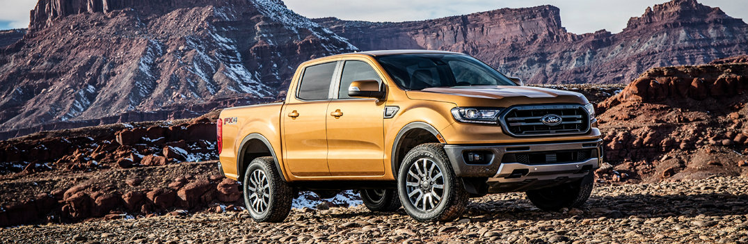 2019 Ford Ranger parked in front of a scenic mountain