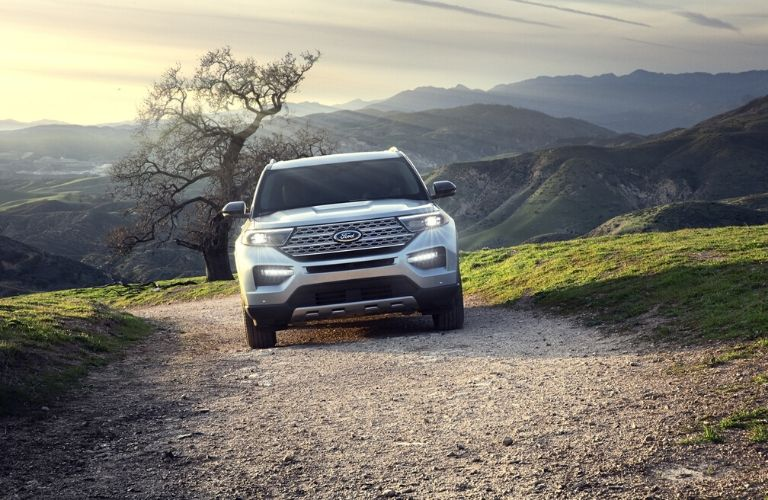 2020 Ford Explorer driving front view on road