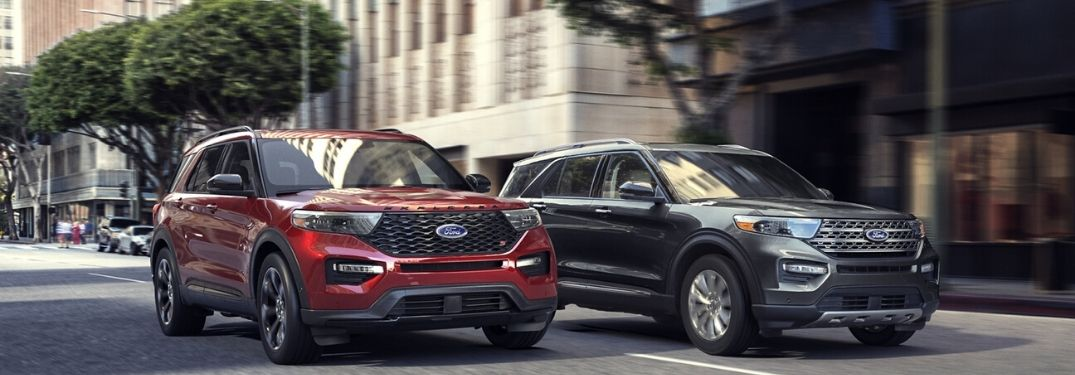 Two 2020 Ford Explorers driving on the road