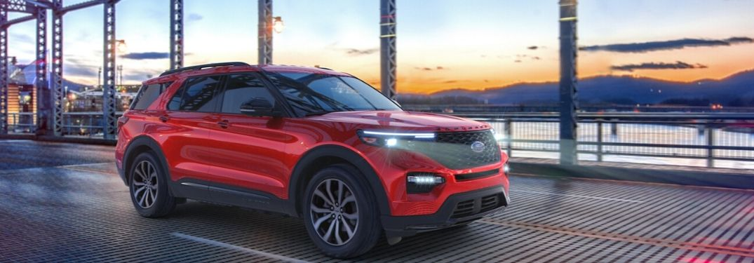 2020 Ford Explorer driving on a bridge