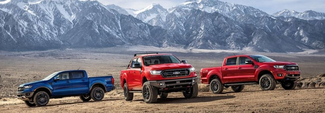 2020 Ford Rangers parked together outside