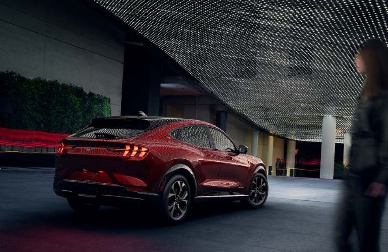 2021 Ford Mustang MACH-E parked rear view
