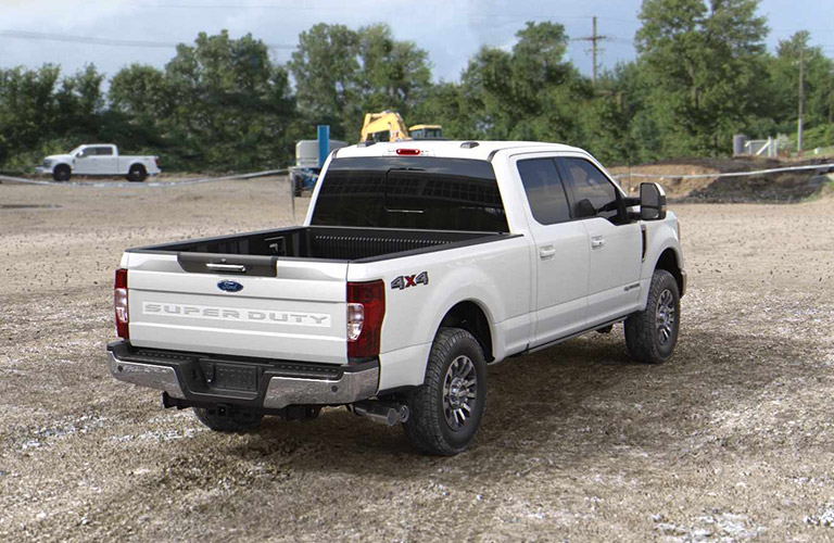 rear view of a white 2021 Ford Super Duty truck