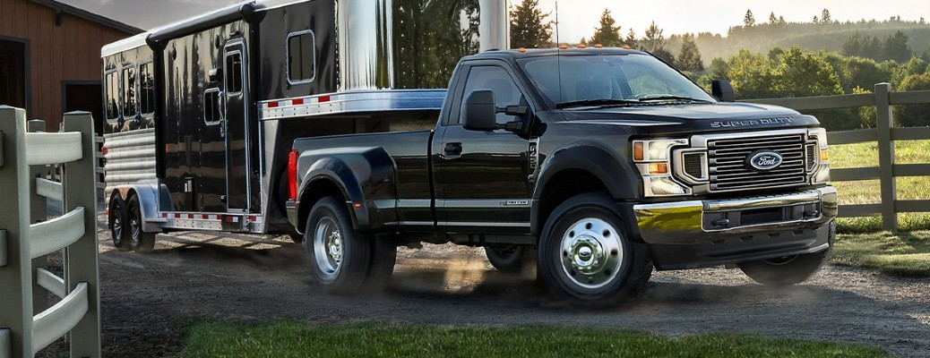 2021 Ford Super Duty truck with a trailer
