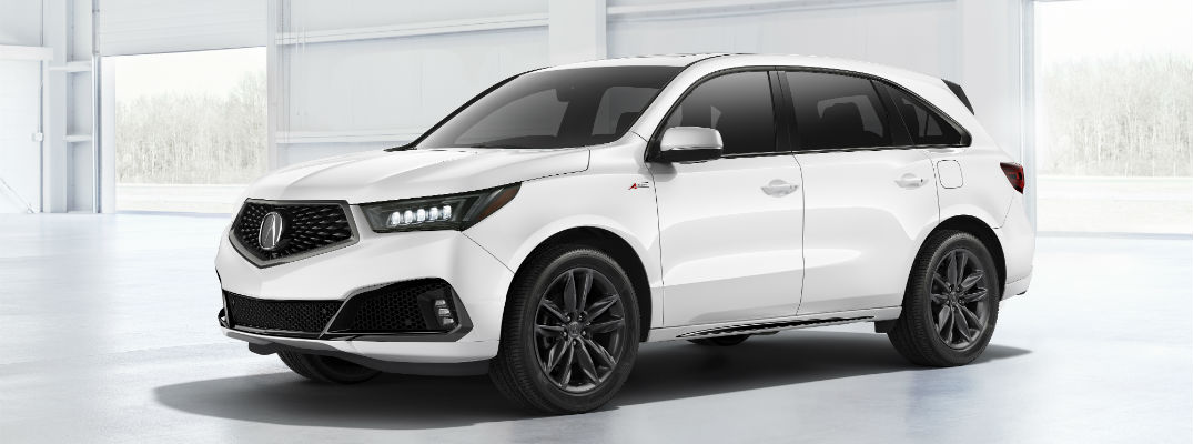A front left quarter photo of the 2019 Acura MDX A-Spec.