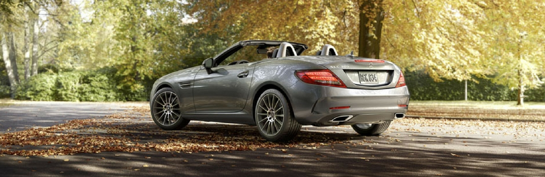 2018 Mercedes-Benz SLC Roadster with top down on a fall day