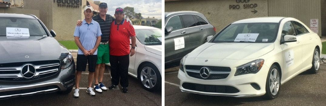Side by side picture of MErcedes-Benz of Gilbert staff at Operation Welcome Home Golf Tournament and Two Mercedes-Benz Vehicles
