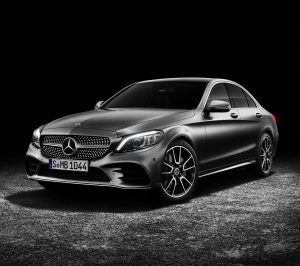 The new Mercedes-Benz C-Class Sedan on black background